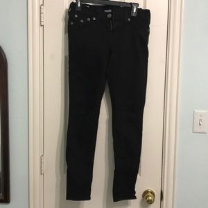 Low rise black skinny jeans